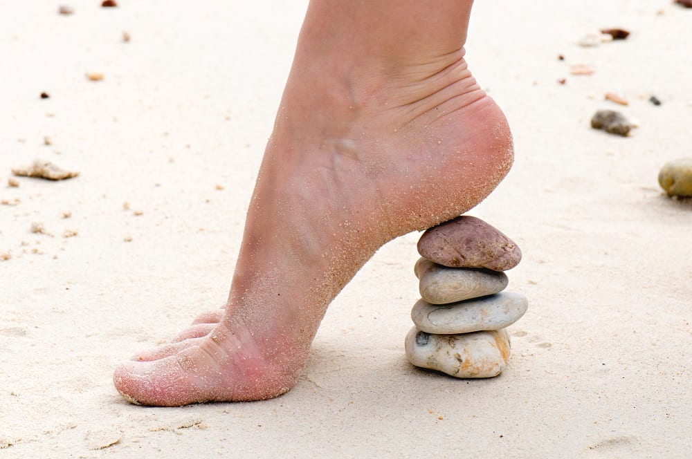 stone heel on a beach