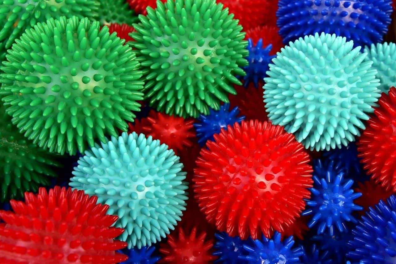 lots of colorful massage balls